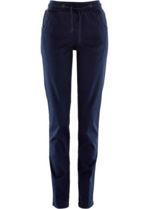 Стрейтчевые брюки с поясом в резинку (темно-синий) bonprix. Цвет: темно-синий