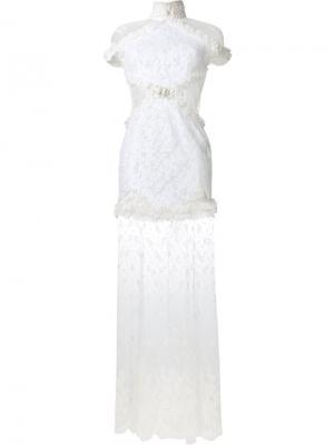 Кружевное платье Alessandra Rich. Цвет: белый