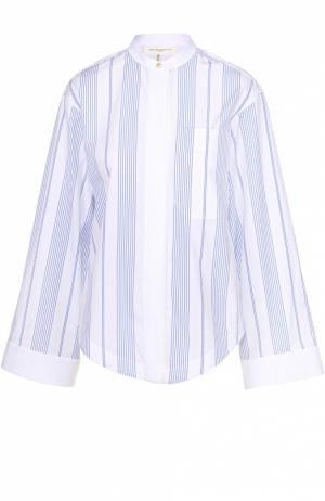 Блуза с воротником-стойкой в контрастную полоску Aquilano Rimondi. Цвет: голубой