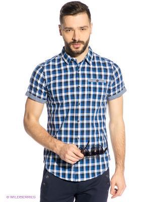 Рубашка Oodji. Цвет: синий, белый, черный