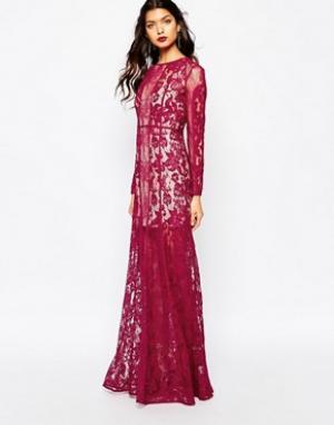 The Jetset Diaries Платье макси ягодного цвета Yasmine. Цвет: красный