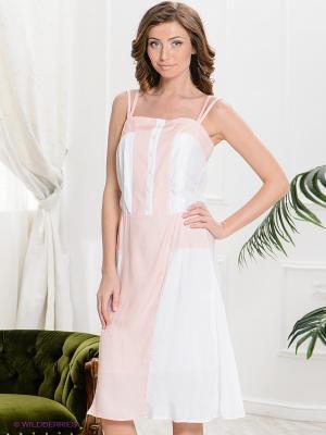Сарафан Yulia Dushina. Цвет: персиковый, белый