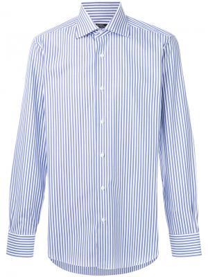 Полосатая классическая рубашка Barba. Цвет: синий