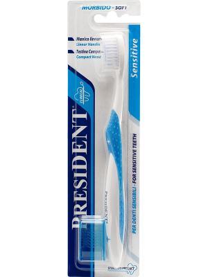Зубная щётка Sensitive PresiDent. Цвет: синий, голубой, белый