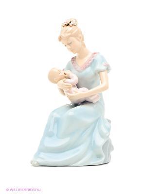 Музыкальная статуэтка Мама с ребенком Pavone. Цвет: светло-голубой