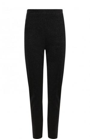 Укороченные брюки-скинни с металлизированной нитью By Malene Birger. Цвет: черный