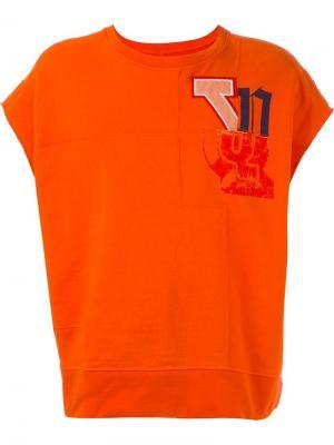 Топ с принтом логотипа Facetasm. Цвет: жёлтый и оранжевый