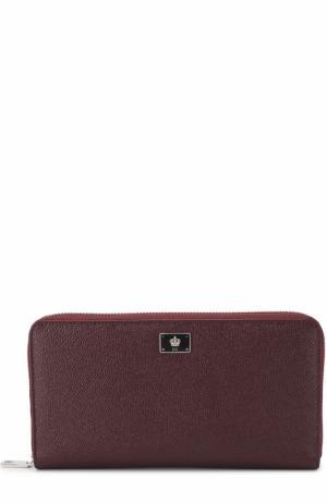 Кожаное портмоне на молнии с отделением для кредитных карт Dolce & Gabbana. Цвет: бордовый
