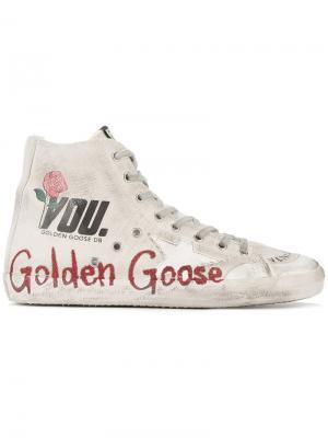 Хайтопы с потертым эффектом Golden Goose Deluxe Brand. Цвет: белый