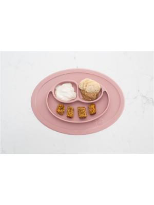 Тарелка с подставкой Ezpz Mini Mat Blush. Цвет: бледно-розовый