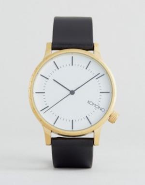 Komono Золотистые часы с черным кожаным ремешком Winston Regal. Цвет: черный