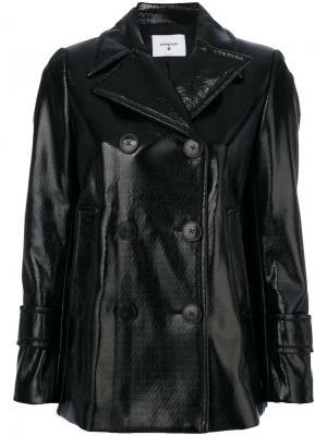 Двубортная куртка из искусственной кожи Dondup. Цвет: чёрный
