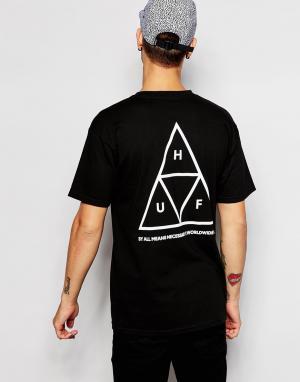 HUF Футболка с тремя треугольниками. Цвет: черный