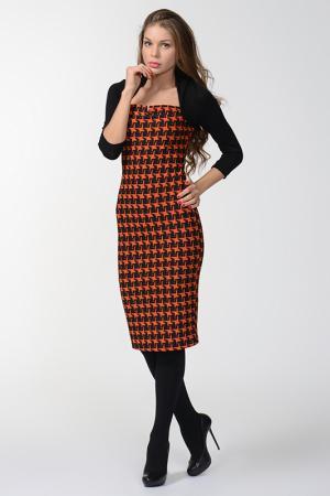 Платье Mon Cheri. Цвет: черный, оранжевый