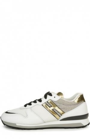 Комбинированные кроссовки с глиттером Hogan. Цвет: белый