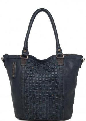 Вместительная кожаная сумка Taschendieb. Цвет: синий