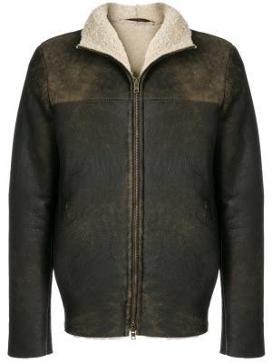 Кожаная куртка прямого кроя Salvatore Santoro. Цвет: коричневый