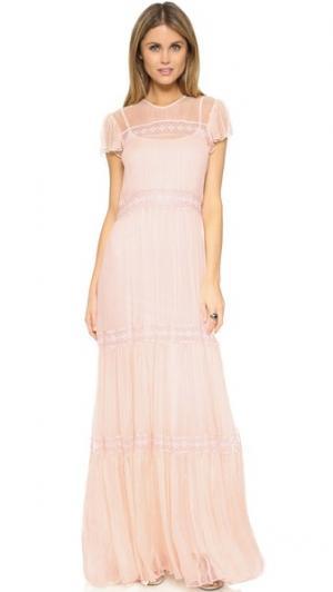 Вечернее платье из шифона и кружева Needle & Thread. Цвет: балетный розовый