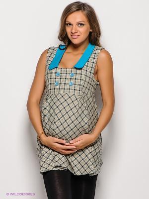 Туника для беременных 40 недель. Цвет: бежевый, морская волна, бирюзовый