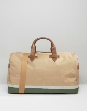 Racing Green Парусиновая сумка с отделкой из искусственной кожи. Цвет: рыжий