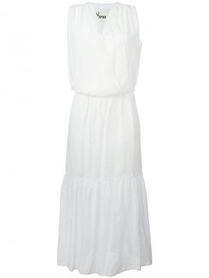Расклешенное длинное платье 8pm. Цвет: белый