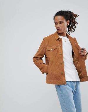 ASOS Светло-коричневая замшевая куртка. Цвет: рыжий