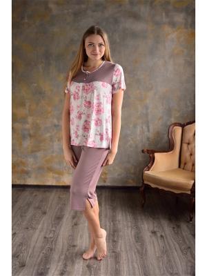 Пижама,капри и футболка Весталия. Цвет: светло-коричневый, молочный