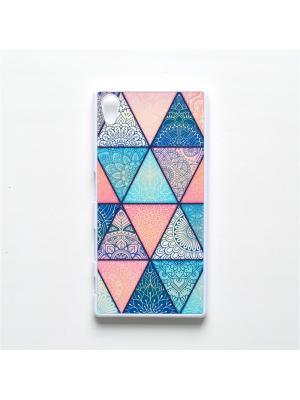 Чехол для Sony Xperia Z5 Геометрический принт Boom Case. Цвет: бирюзовый, розовый