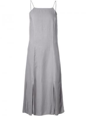 Длинное платье-комбинация на бретелях 321. Цвет: серый