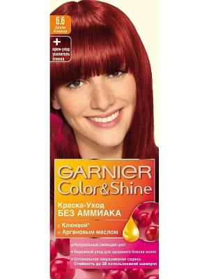 Краска-уход для волос Color&Shine без аммиака, оттенок 6.6, Дикая клюква Garnier. Цвет: красный