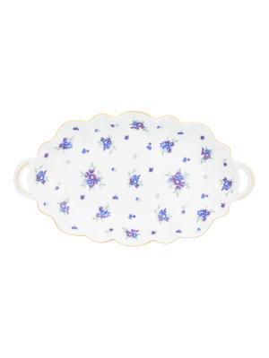 Блюдо для нарезки Сиреневый туман Elan Gallery. Цвет: белый, голубой, сиреневый