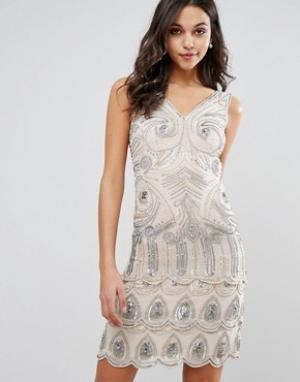 Frock and Frill Платье мини с отделкой пайетками. Цвет: розовый