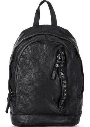 Кожаный рюкзак с отделом на молнии Campomaggi. Цвет: черный