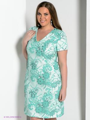 Платье Amelia Lux. Цвет: салатовый, молочный