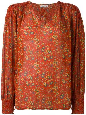 Блузка с V-образным вырезом и рисунком Masscob. Цвет: жёлтый и оранжевый