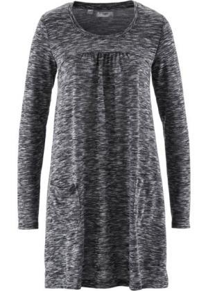 Трикотажное платье меланжевого дизайна с длинным рукавом (черный/белый меланж) bonprix. Цвет: черный/белый меланж