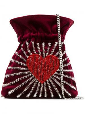 Сумка-мешок с принтом сердца Les Petits Joueurs. Цвет: красный