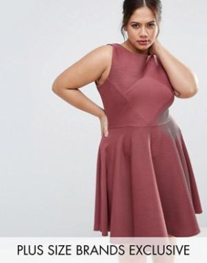 Closet Plus Фактурное приталенное платье без рукавов. Цвет: красный