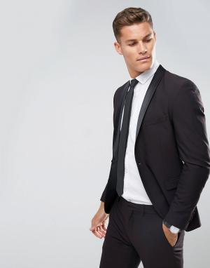 Selected Homme Приталенный пиджак-смокинг с атласными лацканами. Цвет: красный