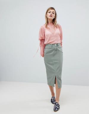 ASOS Джинсовая юбка миди цвета хаки DESIGN. Цвет: зеленый