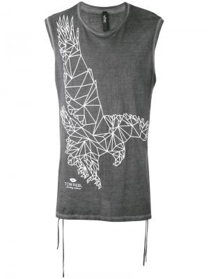 Eagle print sleeveless T-shirt Tom Rebl. Цвет: чёрный