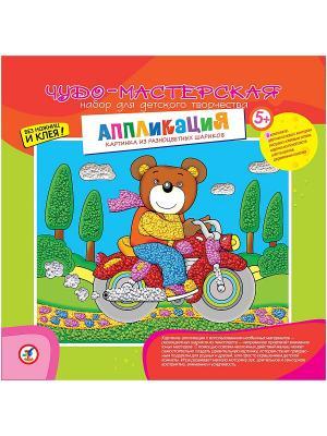 Картинка из разноцв./шарик. Мишка на мотоцикле Дрофа-Медиа. Цвет: красный