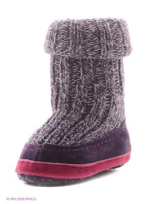Тапочки- носки противоскользящие BROSS. Цвет: фиолетовый