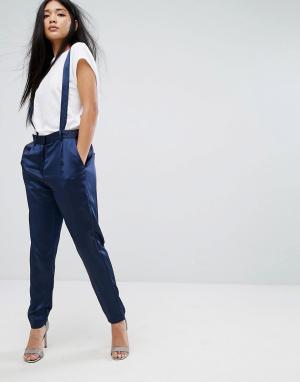 Minimum Широкие брюки со складками. Цвет: темно-синий