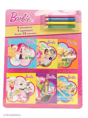 Барби. Раскраски в кармашках. ( с наклейками 6шт., набор цветных карандашей). Эгмонт. Цвет: серый