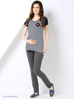 Блуза EUROMAMA. Цвет: темно-синий