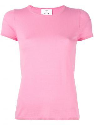 Трикотажный топ с короткими рукавами Allude. Цвет: розовый и фиолетовый