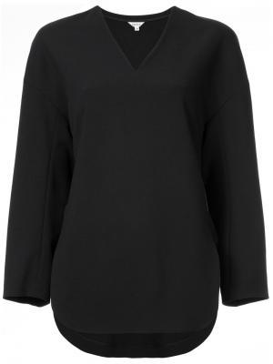 Приталенная блузка с V-образным вырезом Enföld. Цвет: чёрный
