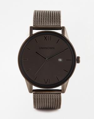 UNKNOWN Золотистые часы из темно-серого металла Dandy. Цвет: серый