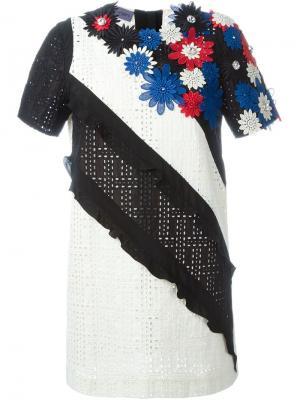 Платье с цветочной аппликацией Emanuel Ungaro. Цвет: чёрный